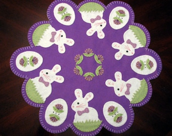 "Hand Stitched 22-1/2"" Easter Bunnies and Eggs Wool-Felt Penny Rug - Candle Mat - Easter Decor - Easter Wool Applique - Easter Fiber Art"