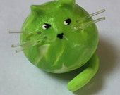 Mini Marble Friend Kitty Cat shown in Lime and white Swirl other color options available