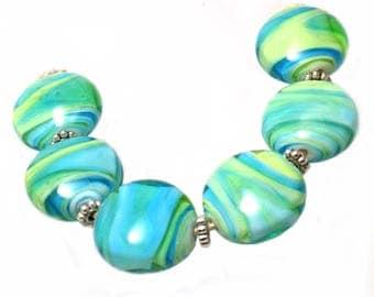 Bahama Swirls Lampwork Bead Set SRA SRAJD
