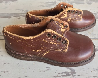 Vintage Baby Shoes - Brown Leather Shoes Toddler