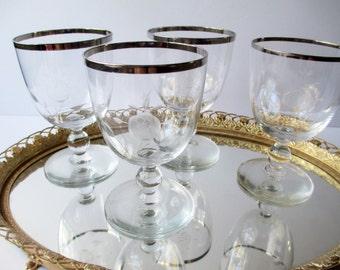 Vintage Wine Glasses Rose Etched Platinum Trim Set of Four - So Elegant