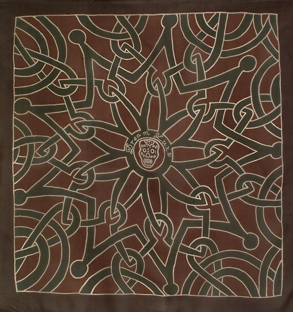 Celtic knot mandala pattern brown square silk scarf with skull