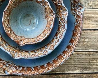 Large Ceramic Nesting Bowl Set - Stoneware Mixing Bowls - Handmade Pottery Nested Bowls - Hostess Gift - Blue Stoneware Bowl Set - For Her