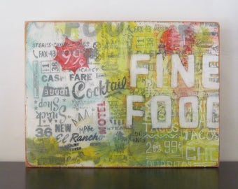 Fine Food - typography, art, design, signage, vintage, americana, resin, screenprint, food wall art decor, food
