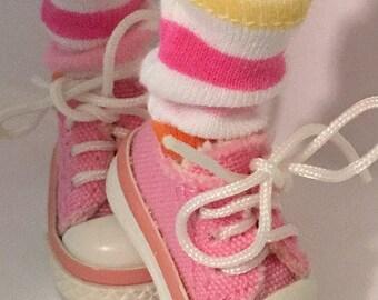 Rainbow Striped Short Socks For Blythe...