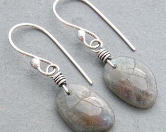 Labradorite Gemstone Dangle Earrings with Subtle Blue, Yellow and Orange Flashes and Sterling Silver, #4764