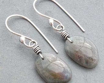 Gray Labradorite Earrings, Sterling Silver, Dangle, Drop, Blue Flash, Yellow Flash, Orange Flash, Hook Ear Wires,  #4764