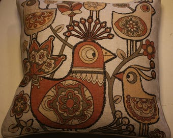 "17"" cushion cover 1960s Bird design"