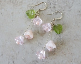 Pink Flower Glass Bead Earrings, Dangle Earrings, Cottage Chic, Beaded Silver Earrings, Pink Earrings, Flower Earrings