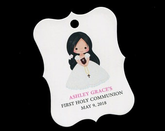 Personalized Communion Favor Tags - First Communion Tags - First Holy Communion Favor Tags - Girls Communion Tags - Black Hair