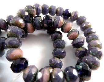 10 Czech Rondelle Amethyst Purple Silk Opaque Transparent Picasso Beads Mix 9x6mm - 10 pc - G6089-APM10