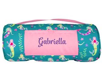 Mermaid Nap Mat Personalized Girl Daycare Preschool Monogrammed Toddler