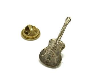 Tiny Guitar Brass Lapel Pin Vintage