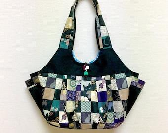 Fabric Shoulder Bag / Fabric Granny Bag / Cat Print bag --- Kimono Cat - Green
