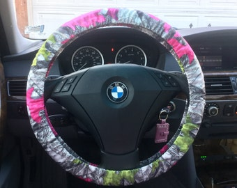 Custom Pink and Green Camo Steering Wheel Cover