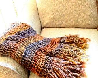 Throw Blanket Earth Tones, Browns, Blues, Amber, Rustic Home Design, Interior Design, Home Decor, READY TO SHIP.  Limited Edition.