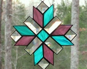 Stained Glass Suncatcher - Cross, Quilt Pattern in Wispy Rose and Teal  with Clear Bevels