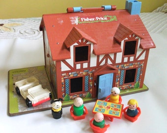 Vintage Fisher Price House Vintage Little People Playset Toy for children Fisher Price Play Family House