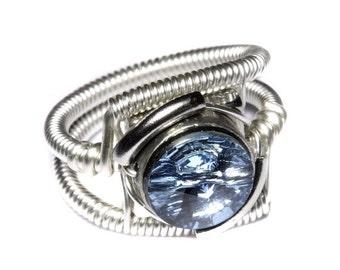 SALE 25% OFF - Cyberpunk Jewelry - RING - Aquamarine Swarovski Crystal