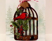 Reserved for Leeann...Set of 4 Christmas card...Holly and A Bird and Cage...Snowbound winter scene...Happy Christmas...Stampin'Up!