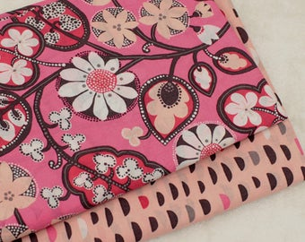 4417 - Flower & Semi-Circle Cotton Fabric - 59 Inch (Width) x 1/2 Yard (Length)