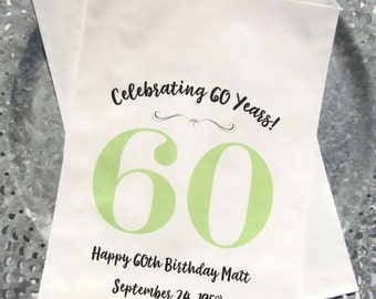 60th Favor Bags - Adult Birthday Favor - 60th Birthday Decorations - Favor Bags 60th Birthday - Adult Party Favors - Favor Bags
