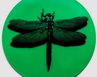 Green Dragonfly Silicone Table Placemat Kitchen Hot Pad Kitchen Trivet Table Mat Table Trivet