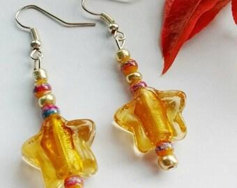 Star Earrings, Large Star Earrings, Star Bead Earrings, Dangle Earrings, Gold Star Earrings, Star Jewelry, Gift For Mum, Gift For Women