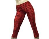 Yoga Pants - Workout Clothes - Hot Yoga - Fitness - Red - Rose Pants - High Waist - Fold Over - Capri - SXY Fitness - Handmade - USA -