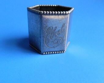 Vintage Hexagon Napkin Ring Engraved for Ethel