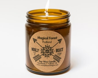 MAGICAL FOREST 9oz Soy Wax Candle by Wooly Beast