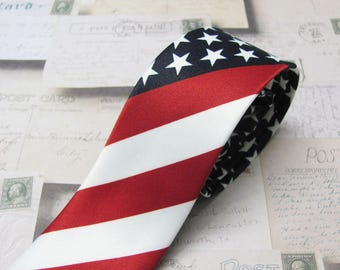 Skinny Tie. Men's Tie. Red White Blue Star Spangled American Flag Skinny Necktie