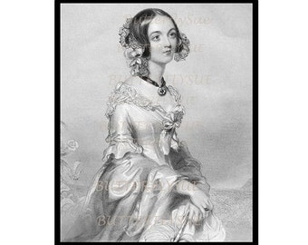 NOW  ON SALE Digital Download, Engraving Elegant Victorian Woman 1840s ,High Fashion Daywear ,Hairstyle Fashion Reference, Resource  300Dpi