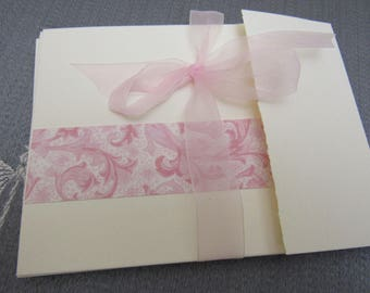 6 Pretty THANK YOU Note Cards PINK Flourishes Ivory Textured Paper Bi-Fold with Tuck Tab