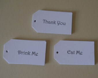 """thank you tags.eat me tags,drink me tags 2.1/4""""x 1.1/4"""" party tags,favor tags,wedding choose."""