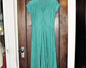 Vintage 80s Green Short Sleeve Knit 40s Look Dress Rayon Poly
