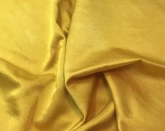 "Hand Dyed Honey Mustard Yellow - Silk and Cotton Blend SATIN Fabric - 18""x22"""