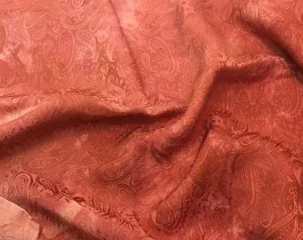 Hand Dyed Peachy Coral PAISLEY - Silk Jacquard Fabric - 1 Yard