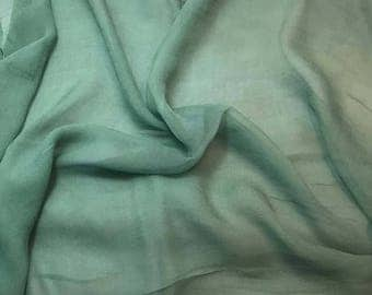 Silk Gauze Chiffon - Hand Dyed Sage Green - 1/2 Yard