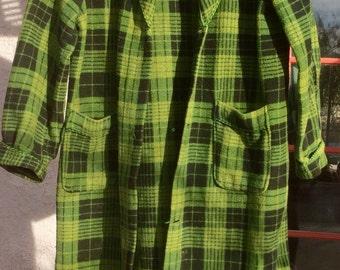 Vintage BEACON BLANKET Robe All Cotton Green Plaid
