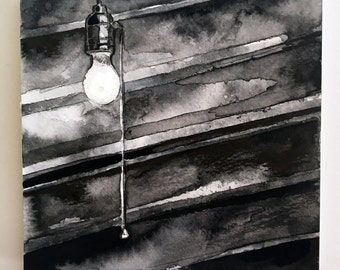 Spooky Light Bulb Ink Reproduction - Horror Story Art by Jen Tracy - No Sleep Podcast Art Print of Basement Bulb - Scary Story Art