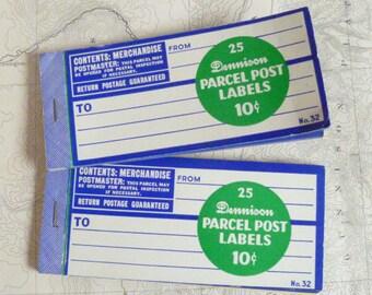 Lot of 2 Vintage packets of Dennison Parcel Post Labels Blue Address Labels Scrapbooking Altered Art Supplies
