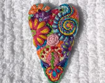 Freeform embroidery heart brooch  Brooch #173