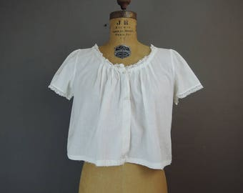 Vintage Lingerie Top, White Cotton Crop Top Blouse, 1920s 36 bust