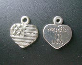 USA Flag Heart Charm - Low Shipping