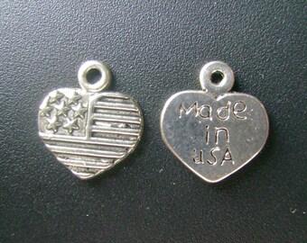 USA Flag Heart Charm - Low Shipping