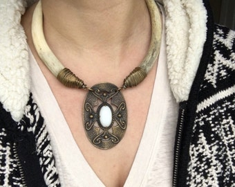 Real Deer Antler Statement Necklace Art Nouveau Necklace Rustic Jewelry DanielleRoseBean Game of Thrones Necklace Cyber Monday