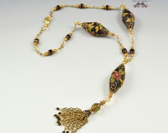 Polymer Clay Bead Tassel Necklace, Black, Olive Green, Gold
