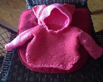 Baby Pink Hooded Poncho- Knit- Bear Ears- 6 Mo