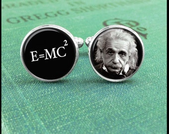 Albert Einstein Cufflinks, E=mc2 Cufflinks, Science Cufflinks, Geek cufflinks, Math Cufflinks, Gift for Teacher, Physic Cufflinks, Gift Idea